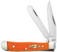 Case #10313 (62154 SS) Smooth Persimmon Orange Bone Tiny Trapper