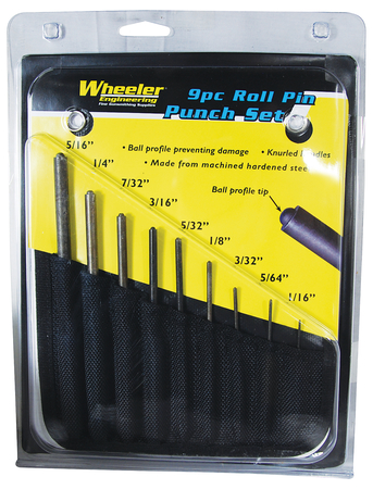 Wheeler Engineering 9 Piece Roll Pin Punch Set with Storage Pouch