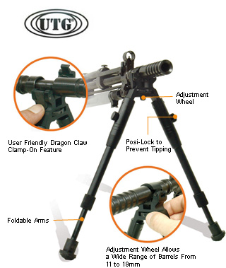 Leapers UTG (TL-BP08S) Low-Profile Dragon Claw Clamp-on Barrel Bipod