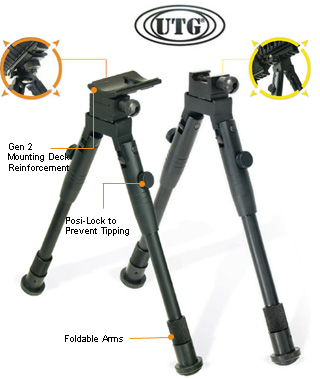 UTG TL-BP69S Low-Profile Universal Picatinny & Swivel-Stud Bipod